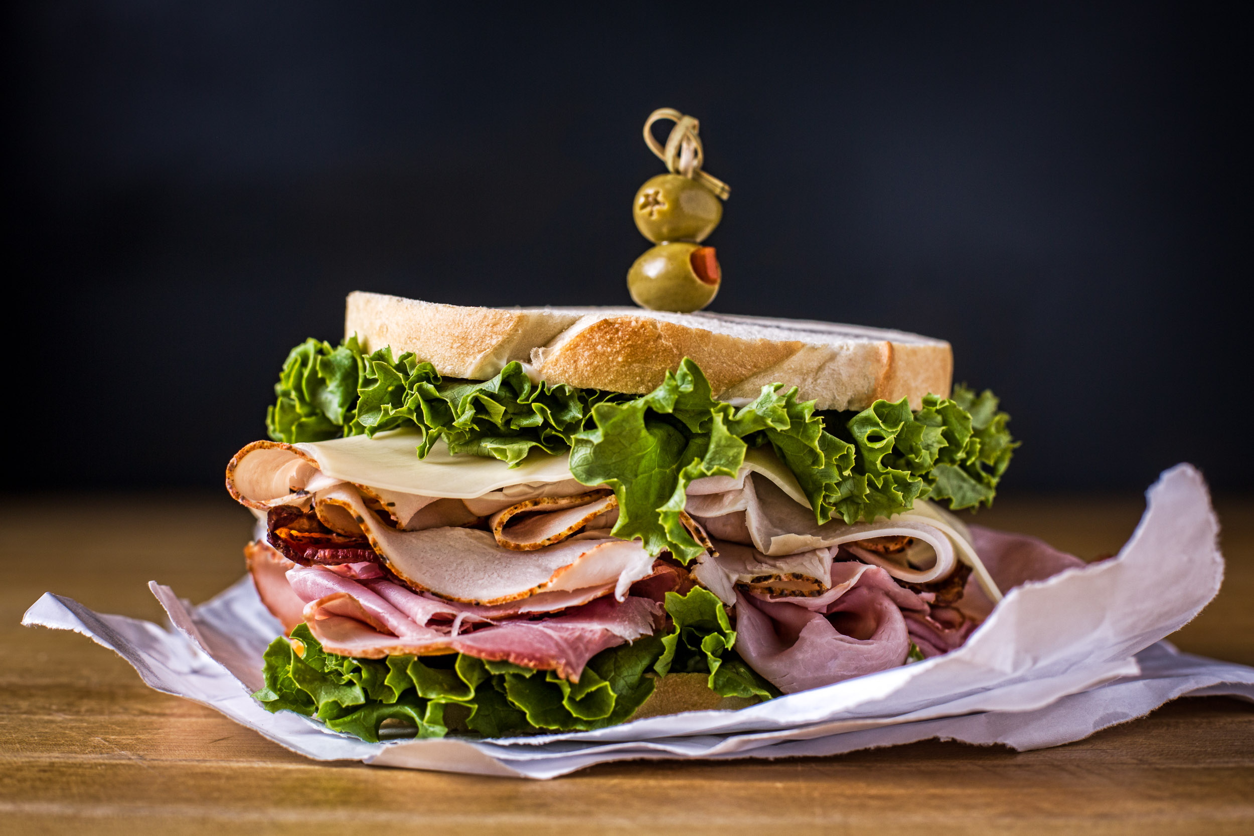 Turkey club deli sandwich